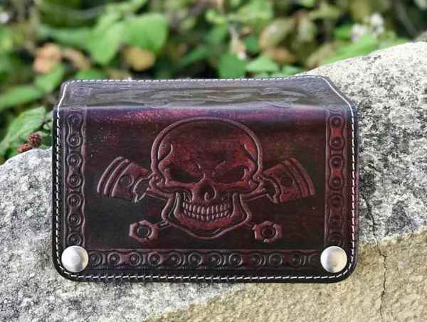 Custom Skull&Pistons Leather Wallet