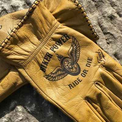 Custom BikerPower Leather Gloves