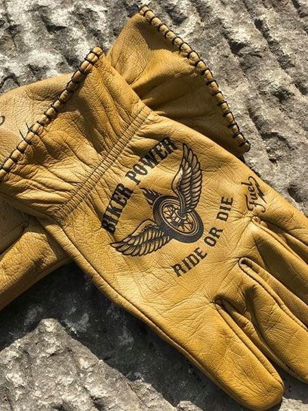 Custom BikerPower Leather Gloves