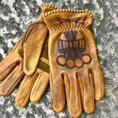 Custom Leather Irish Gloves For Motorcycle