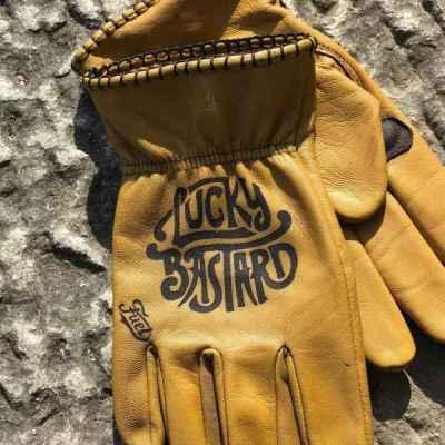 Custom LuckyBastard Leather Gloves