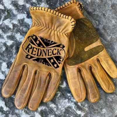Custom Redneck Leather Gloves