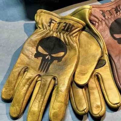 Custom Punisher Leather Gloves