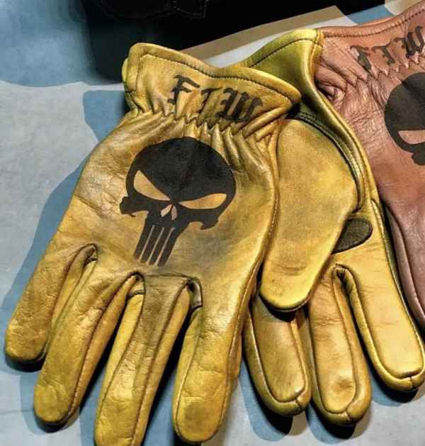 Custom Punisher Leather Gloves