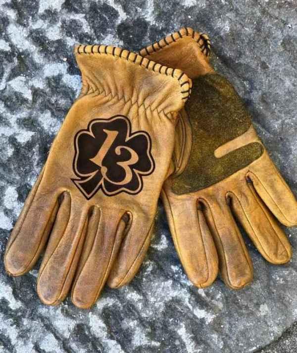 Custom Lucky13 Leather gloves
