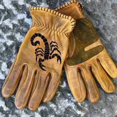 Custom Scorpion Leather Gloves