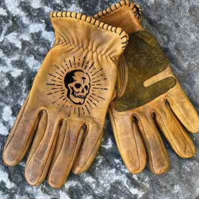 Custom OldSkull Leather Gloves