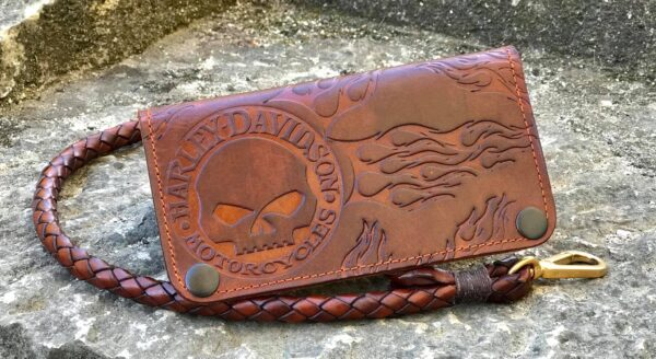Custom Skull&Flames Leather Wallet